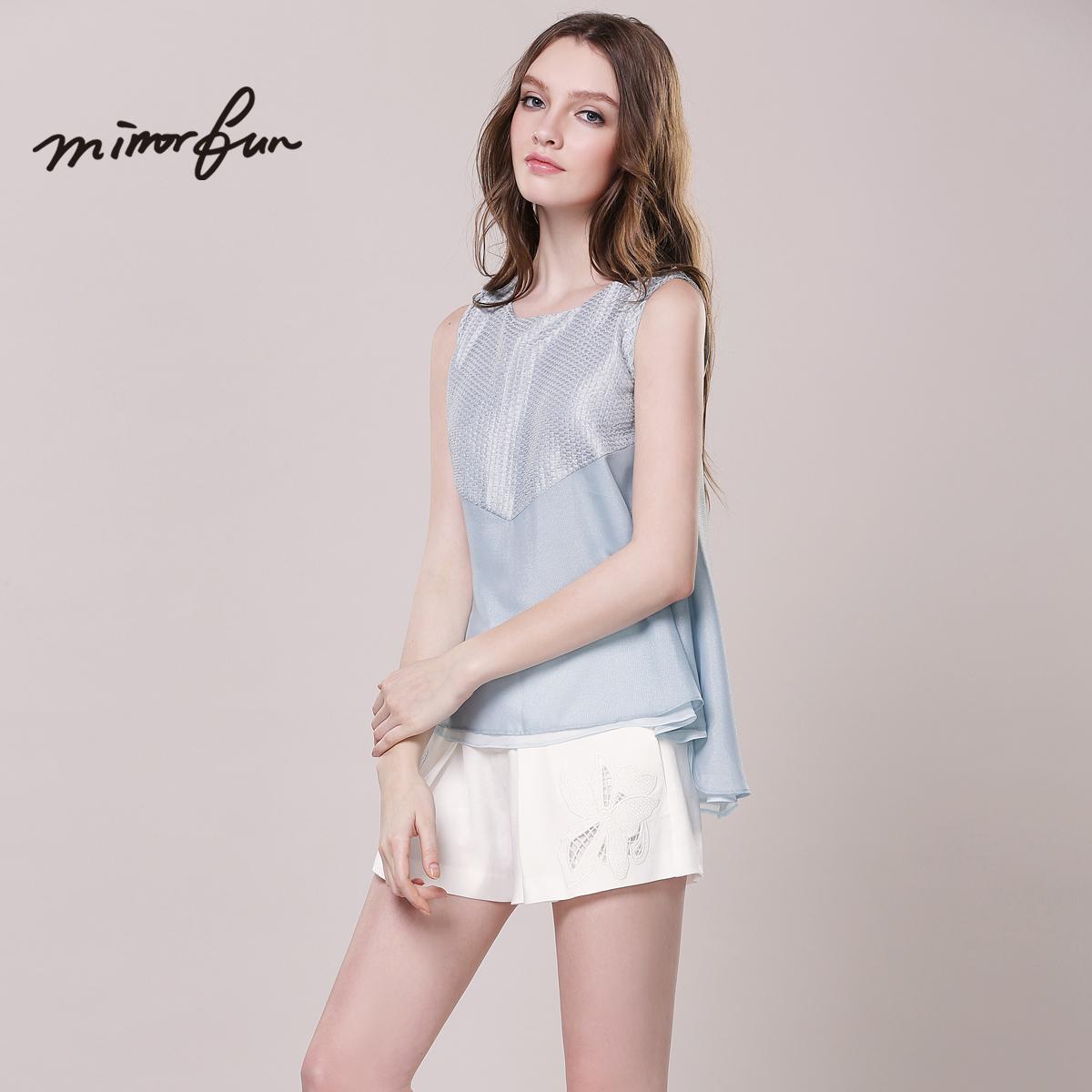 MIRROR FUN2015夏装新款透视拼接无袖雪纺衫拼接雪纺上衣夏宽松