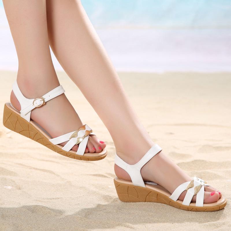 2015夏季新款坡跟大码鞋牛筋底防水台凉鞋女中跟平底舒适孕妇女鞋