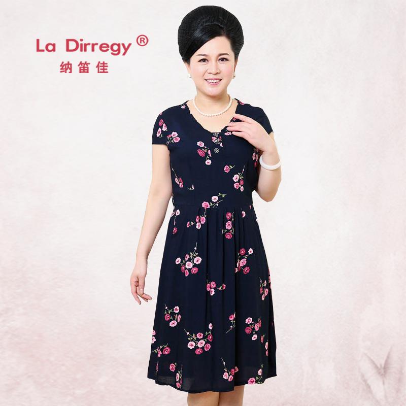 中老年连衣裙 中年妈妈连衣裙夏装40-50绵绸中长款修身显瘦裙子