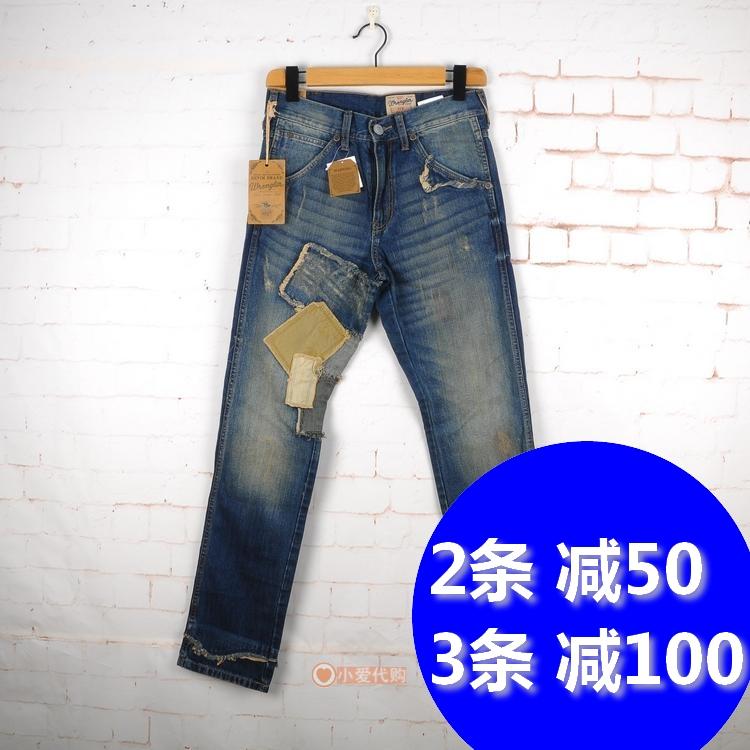 威格wrangler专柜正品 WMC331207277 补丁男士修身牛仔裤 1190