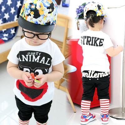 韩版新款2015夏装 儿童短袖 男童女童卡通印花短袖T恤眼睛男