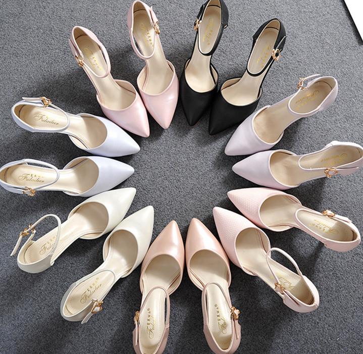 2015夏季包头高跟鞋中跟女鞋裸粉色侧空尖头细跟凉鞋女小码33 34