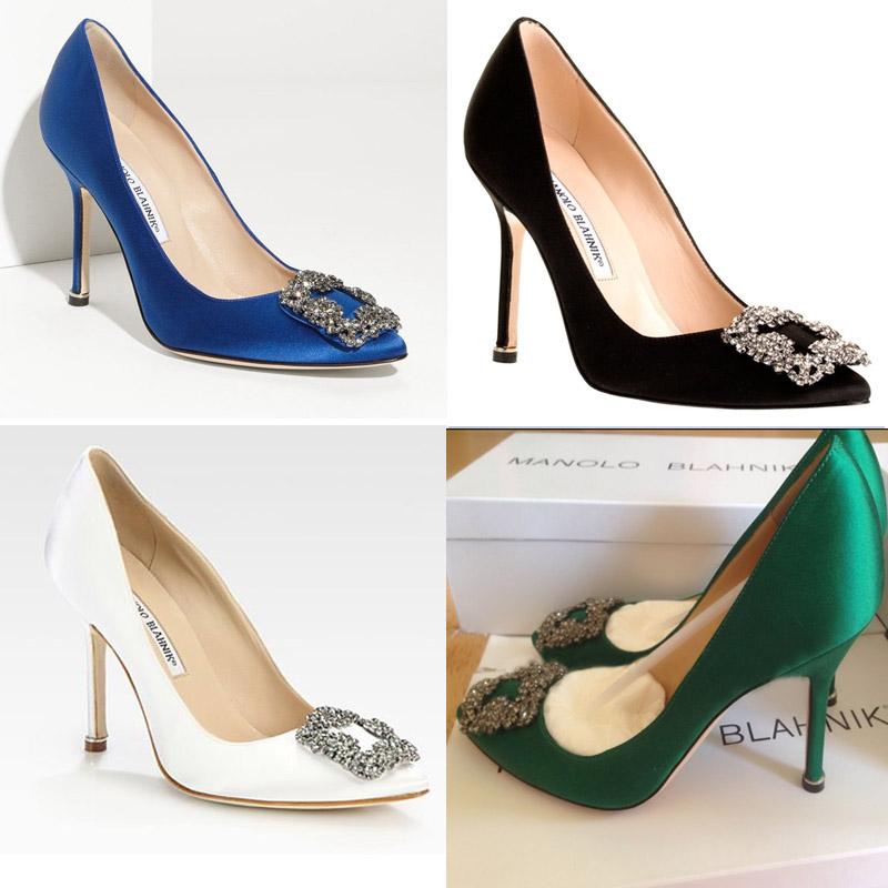 欧美方扣水钻超MB高跟鞋rv细跟真皮女单鞋真丝绸缎面尖头伴娘婚鞋