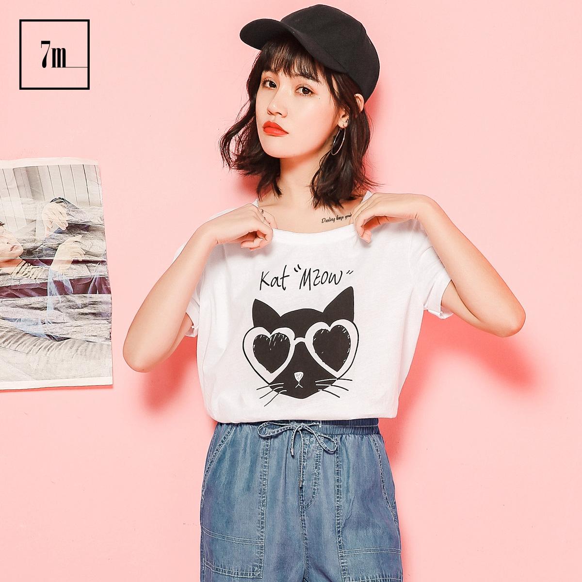 拉夏贝尔7m2017夏新猫咪印花圆领上衣绑带宽松短袖t恤女70007908