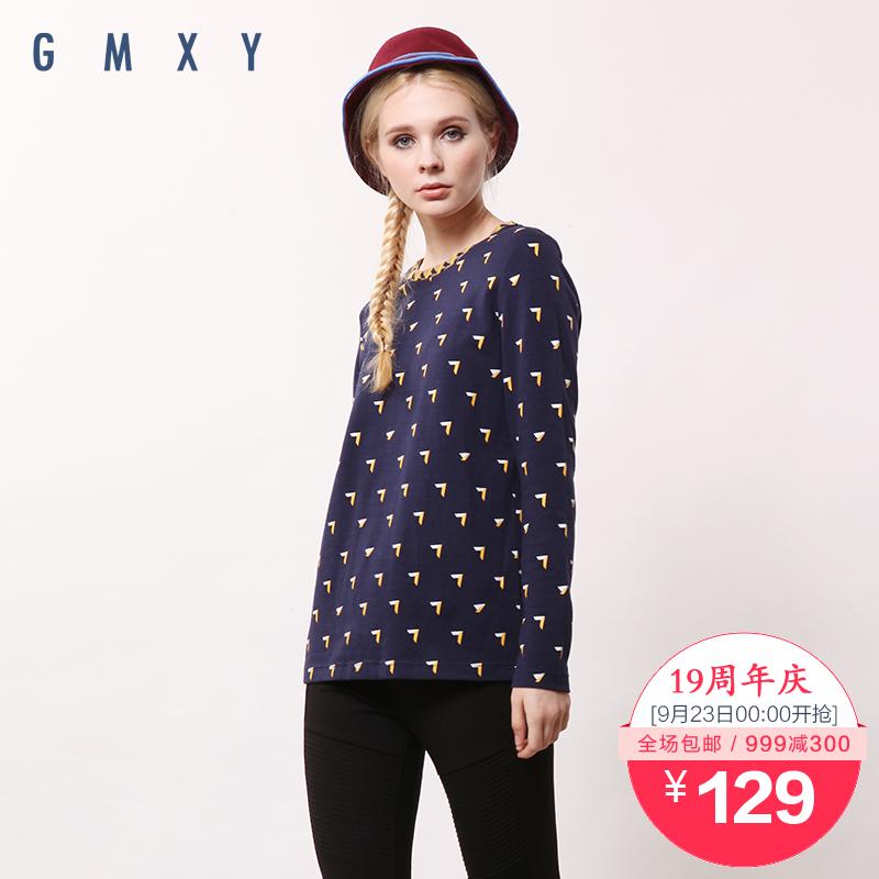【周年庆】古木夕羊GMXY2015秋装新款圆领提花印花T恤 T545902