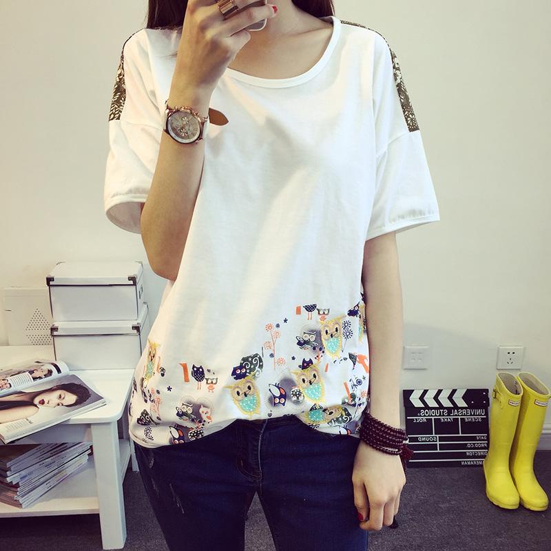 2015夏装新款 韩版宽松打底短袖体恤纯色上衣绣花女棉T恤大码