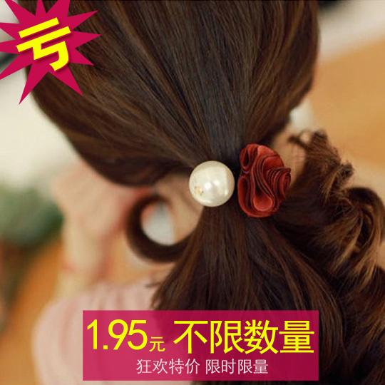 F319 头饰新款韩国版珍珠玫瑰花朵发圈 头花发绳皮筋马尾头饰