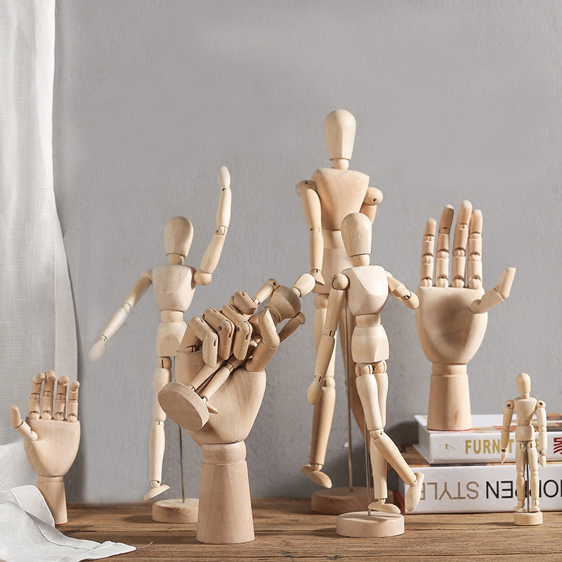 ins 北欧创意复古手装饰品美式卧室家居木头人模型客厅房间小摆件