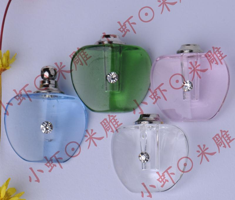 小虾米雕 米上刻字(大米刻字)饰品配件批发 镶钻水晶瓶☆扁苹果