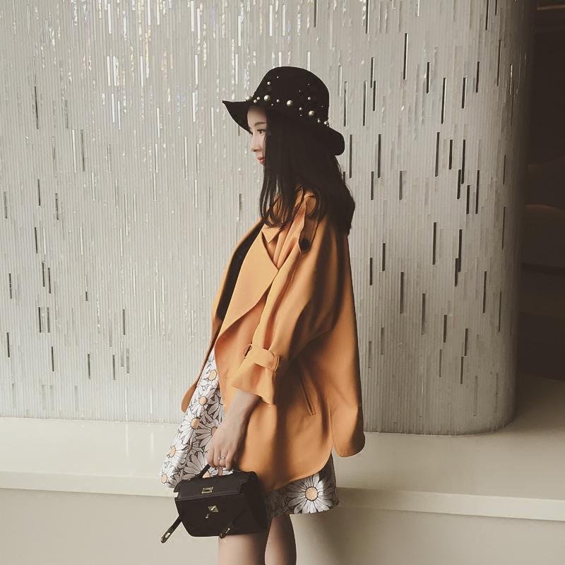 中长款风衣外套女秋季修身显瘦上衣九分袖侧开叉韩版西装领WT522