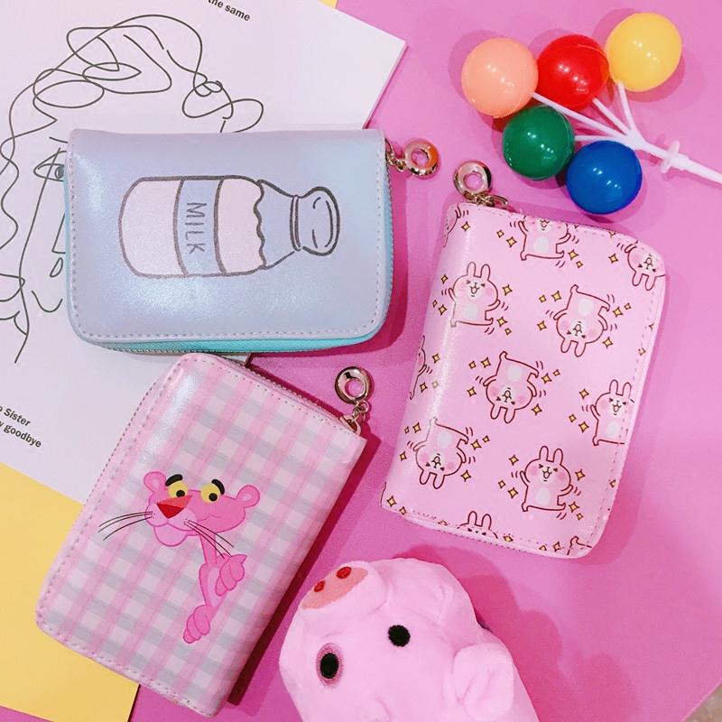 韩风ins少女心可爱软萌卡通印花格子短款钱包学生皮夹迷你拉链包