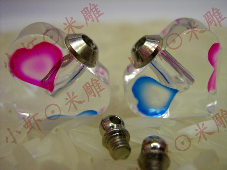 工厂直销米雕米上刻字大米刻字饰品配件生产批发炫彩水晶瓶心连心