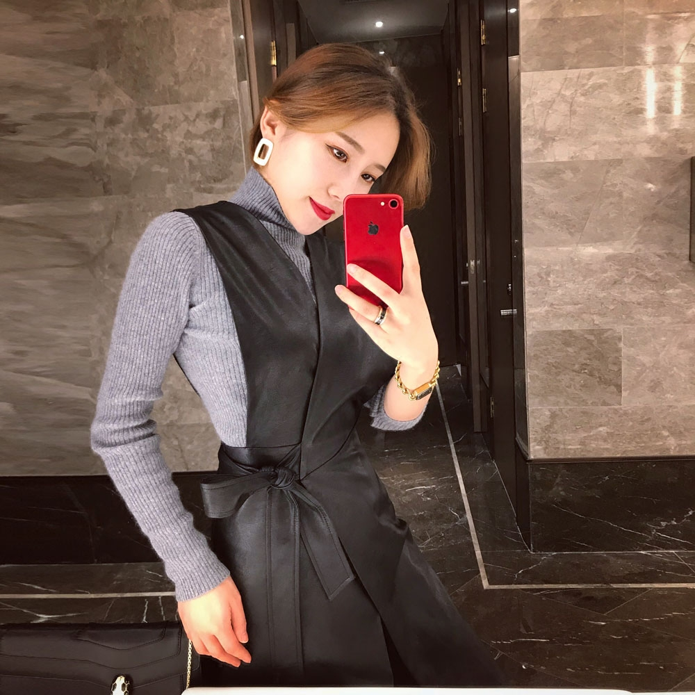原创设计2018春新品名媛复古卡特皮收腰系带V领背心连衣裙潮
