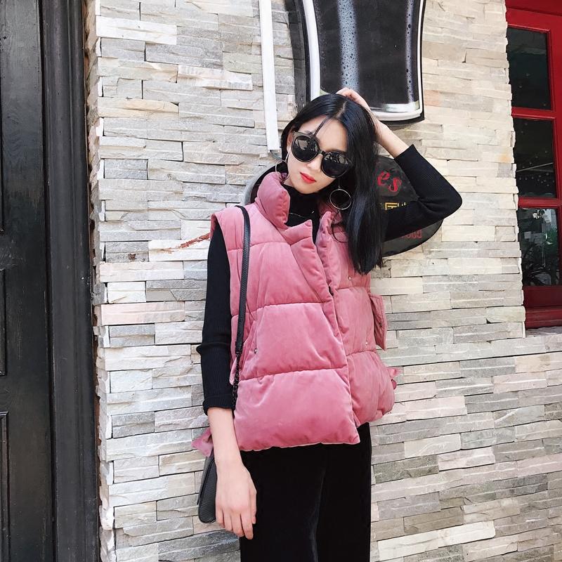 冬季韩版短款小棉衣马甲女冬丝绒面加厚背心袄子冬装外搭面包服bf