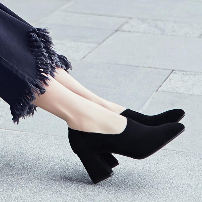 羊皮粗跟单鞋女2020新款高跟鞋真皮鞋女百搭