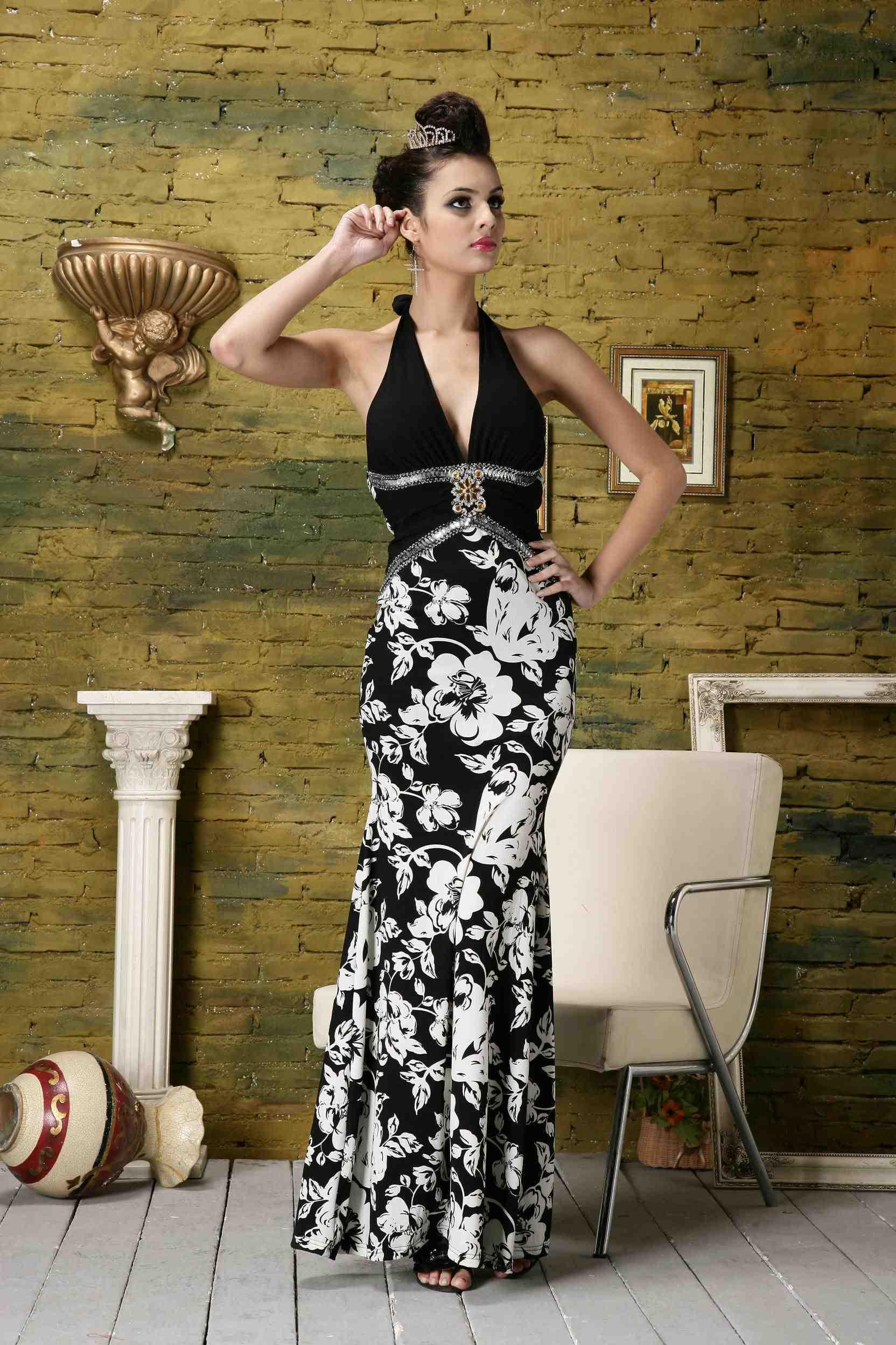Вечерние платья Черный и белый узор ночные клубы длинный участок глубокий V сексуальный приталенный вечернее платья черный высокая талия платье модератора одежды 21267
