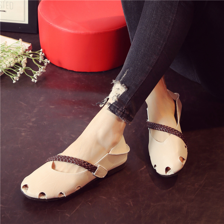 New lazy shoes round head hollowed out super soft woven with hope women's shoes students 29