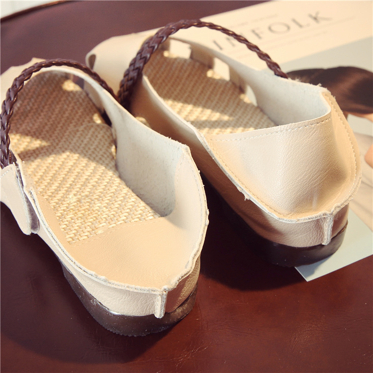 New lazy shoes round head hollowed out super soft woven with hope women's shoes students 34