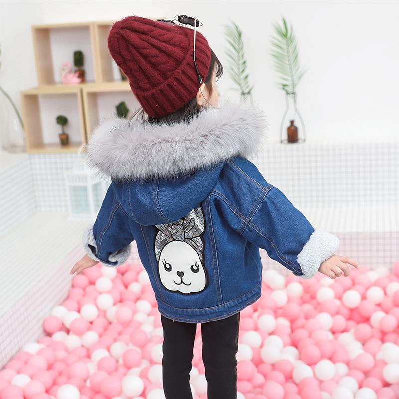 时尚小童绒牛仔女童2018新款上衣韩版羊羔加厚宝宝幼童外套秋冬装