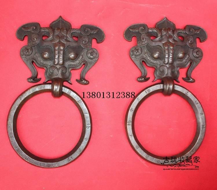 拉手门环门拉手大装饰铜门环摆件纯铜兽头精品一对