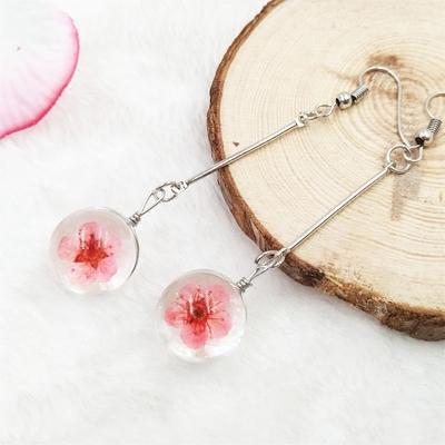 欧美风天然干花玻璃球耳环小清新水仙花个性质感樱花蕾丝花耳坠女