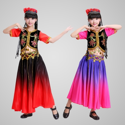 Children's costumes children's minority stage performance costumes children's India 360 degree swing skirt