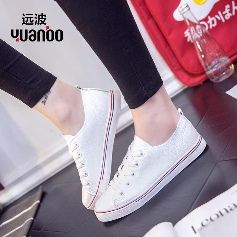 情侣鞋 小白鞋 皮面系带平底鞋