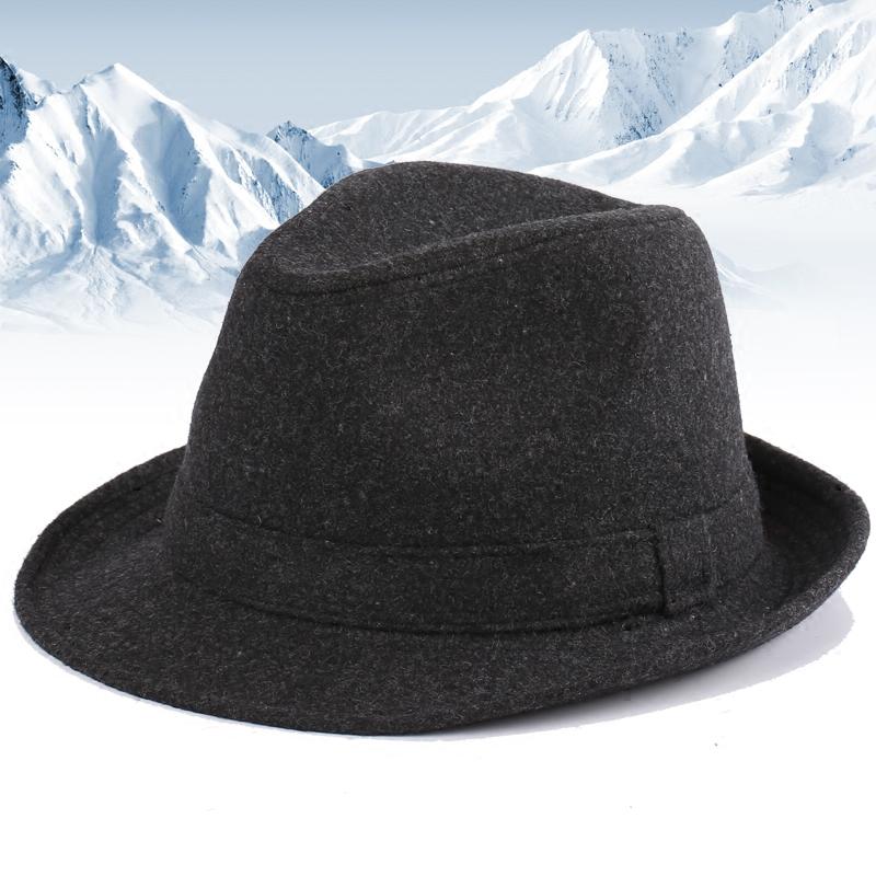 帽子男士秋冬季英伦礼帽冬天保暖盆帽毛呢帽中老年人爵士帽老人帽