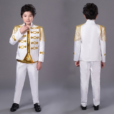 Child men suits designs children's Day stage costumes for singers men england blazer dance clothes jacket tassel dress white