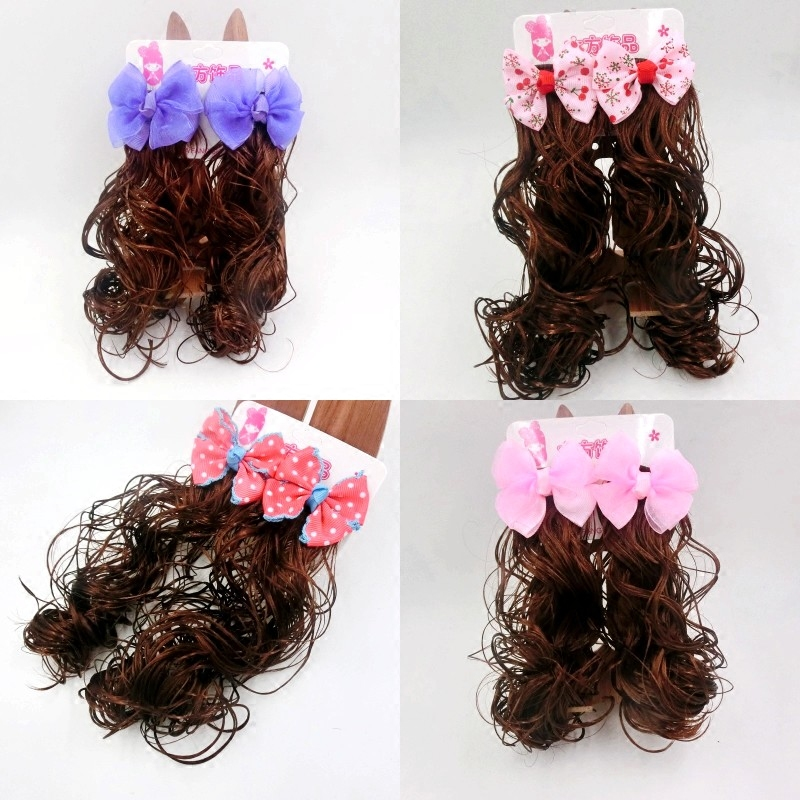 Children's Day wig headdress braids a pair of women's hairpin girls long curly bows flowers hair clips full
