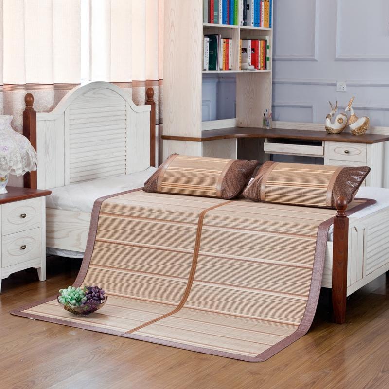 Thảm tre mùa hè có thể được gấp 1,8 mét giường ở cả hai bên có sẵn giường đôi mat 1,5m giường tre tự nhiên - Thảm mùa hè