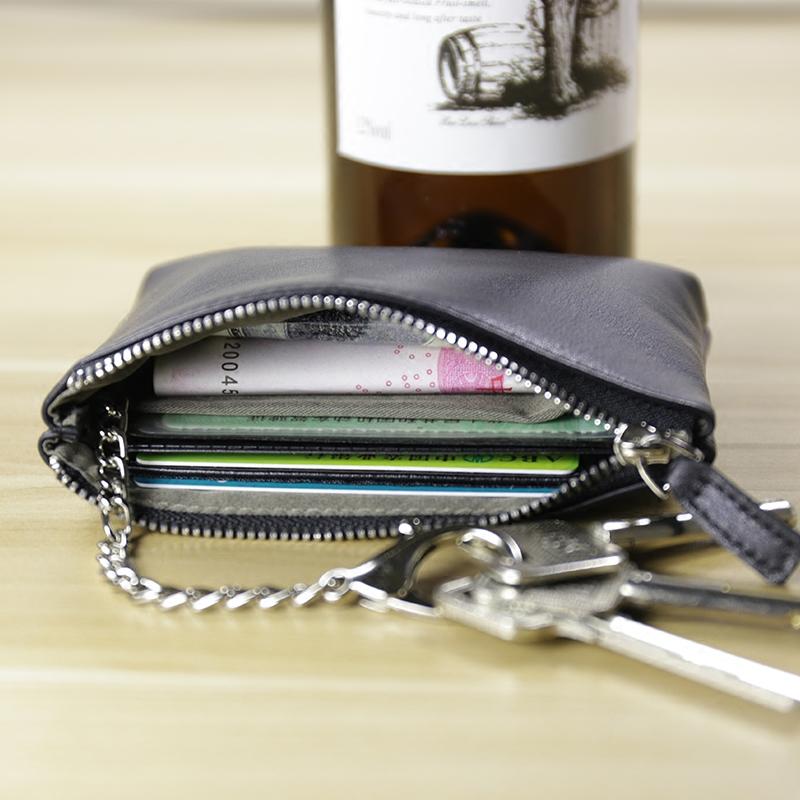 Многофункциональный лицевая коровья кожа кошелек мужчина монета пакет карт пакет брелок женщина водительские права пакета небольшой бумажник