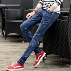 Summer jeans men's Slim pants youth Korean version of the trend men's black casual stretch thin pants men