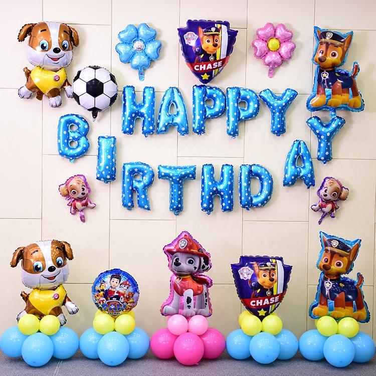 Ребенок полный год мультики день рождения ткань положить алюминий воздушный шар день рождения партия воздушный шар кора команда собака воздушный шар наряд играть