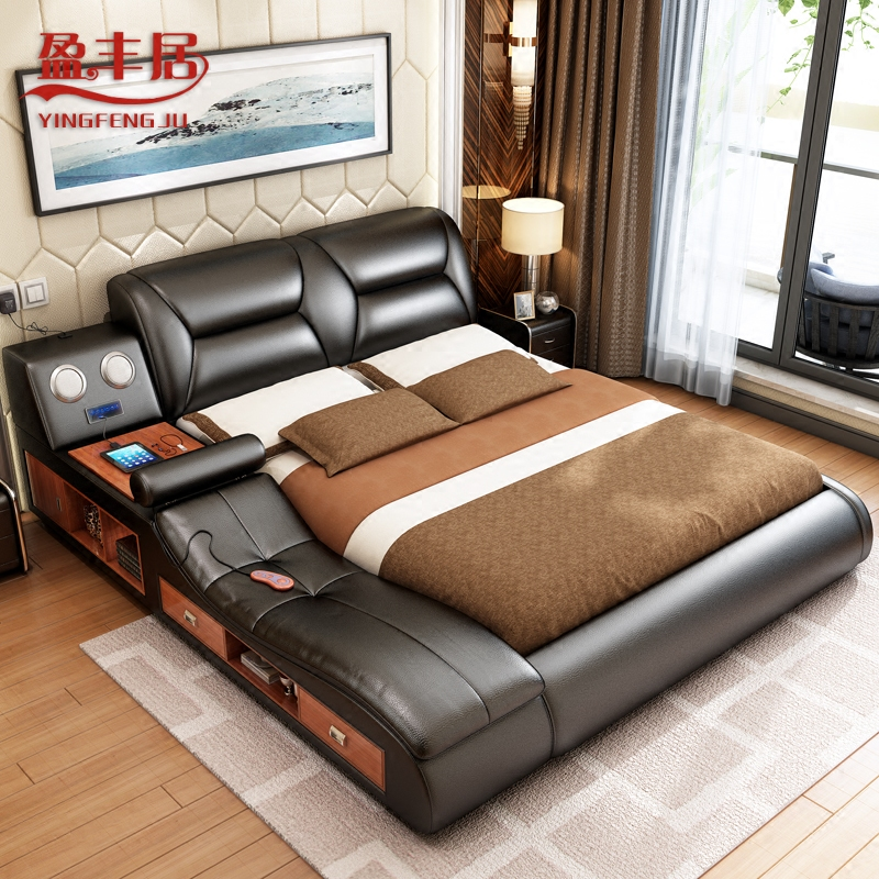 Usd Smart Tatami Master Bedroom Multi Functional Leather Bed Modern Wedding Bed 1 8 M
