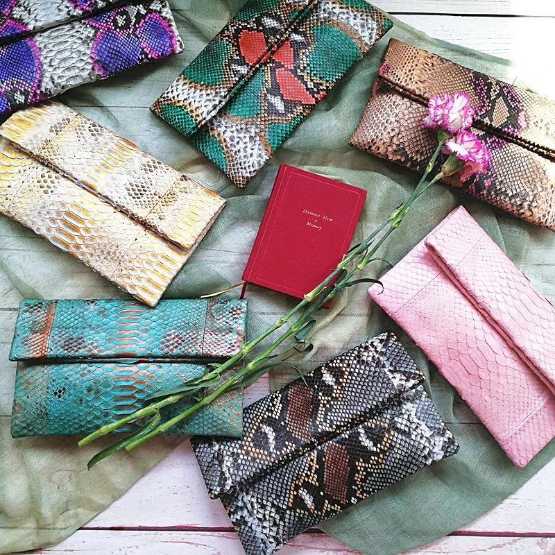 巴厘岛真手工皮手拿信封手抓包包包包印尼蟒蛇制女包拼皮款