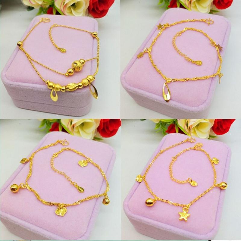 Màu sắc lâu dài có thể điều chỉnh Việt Nam cát vàng vòng chân nữ mới Euro chuyển tiền ngọc trai hạt ngọc vòng chân giả vàng trang sức - Vòng chân
