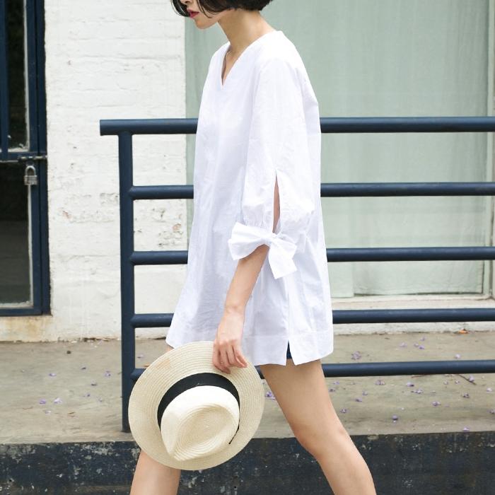 纯色衬衫女长袖春秋新款韩版大码中长款时尚纯棉修身休闲翻领衬衣