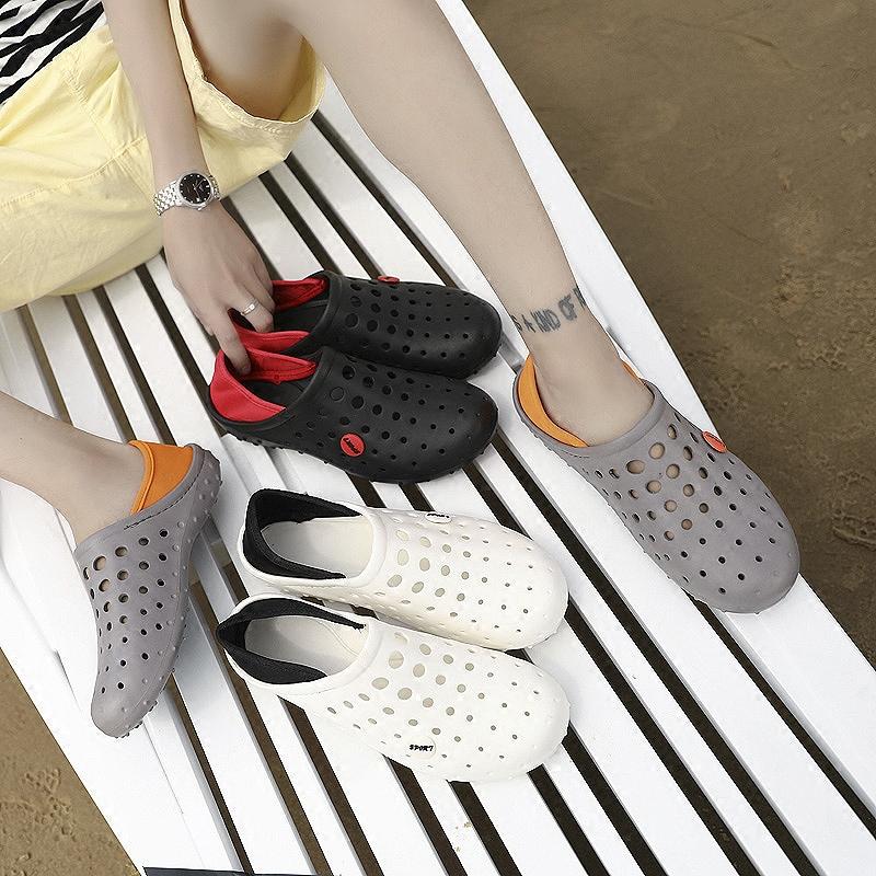 洞洞鞋男2018夏季镂空网鞋半拖鞋男士休闲凉鞋防滑沙滩鞋潮拖鞋男