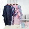 Spring and summer thin gauze nightdress men's cardigan long paragraph robe cotton double yukata female Japanese style wind pajamas floral