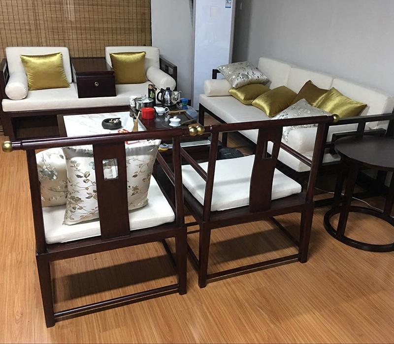 Новый китайский стиль ocean кровать старый вяз алтарь смысл диван сочетание может место случайный диван - кровать диван модель дом отели мебель