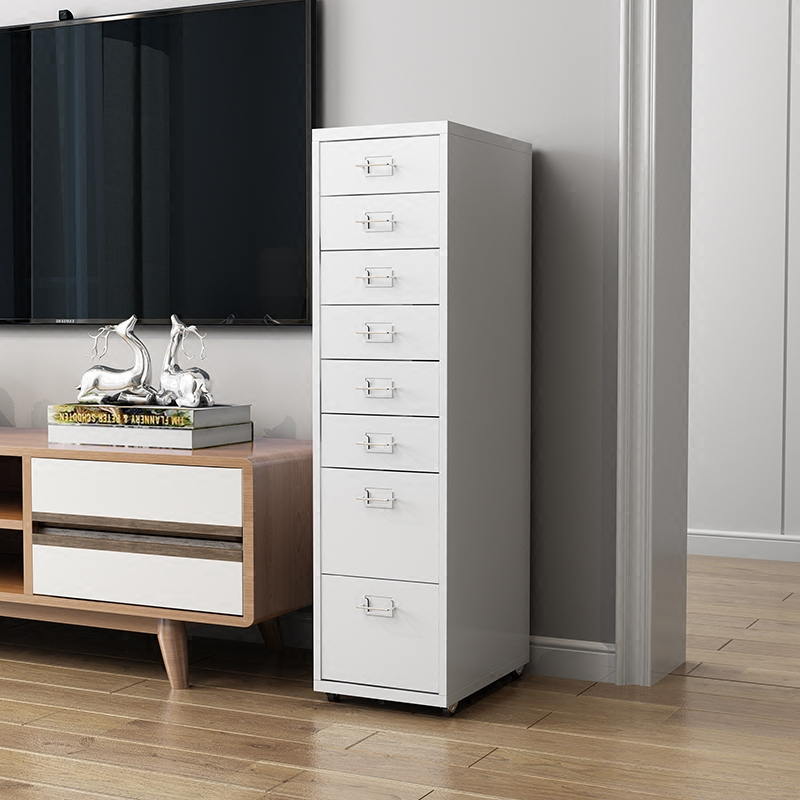 Preparation of Storage Cabinet Solid Wood Cabinet Drawer Type Multi-Layer Finishing Narrow Cabinet Bedroom Locker Color : A