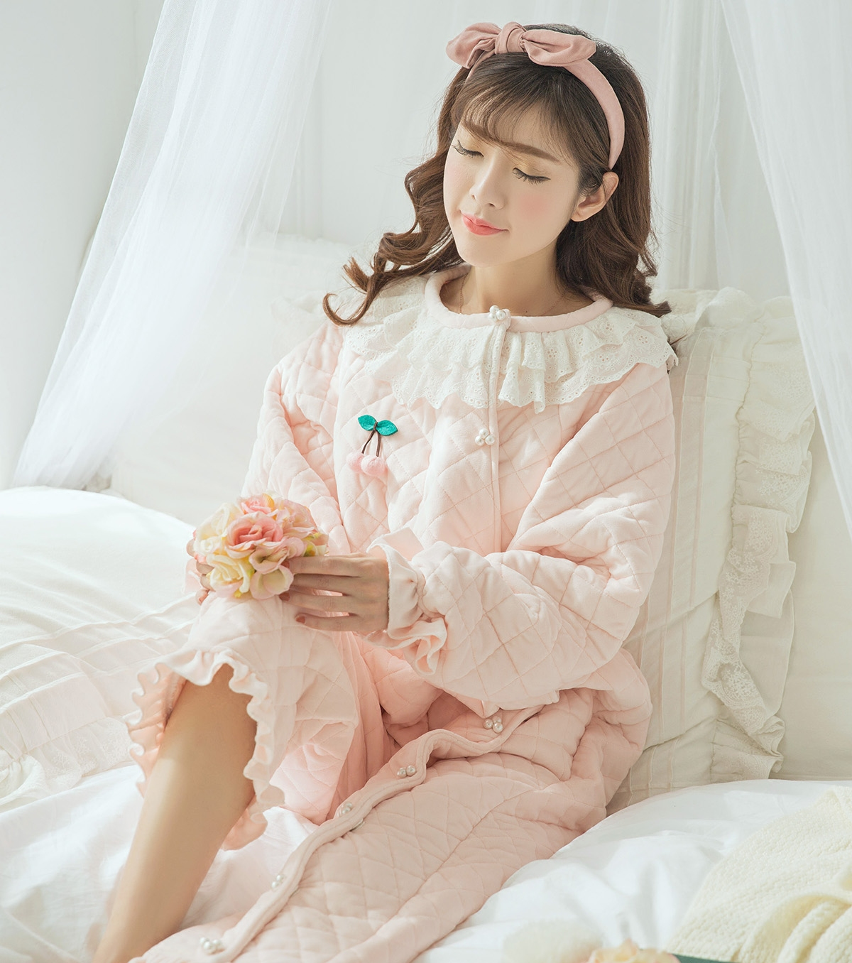 d5e7eda08d (Small cute) new autumn and winter padded cotton Home Service winter cotton  pajamas jumpsuit
