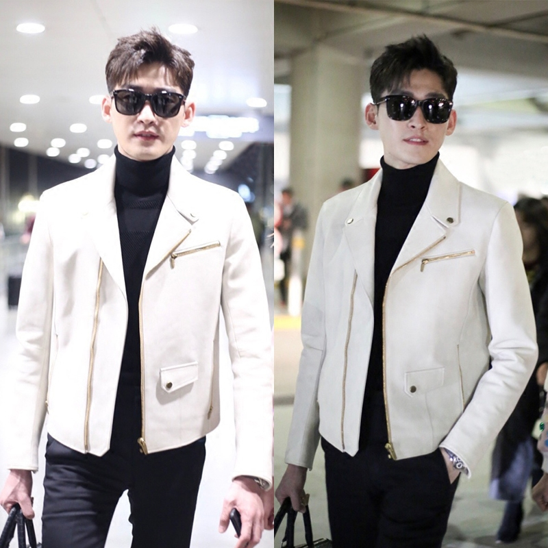 Zhang Han with men's casual white PU leather slim jacket