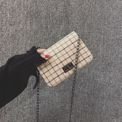 chic chain bag female 2017 new Korean wild mini woolen plaid ulzzang Messenger bag tide