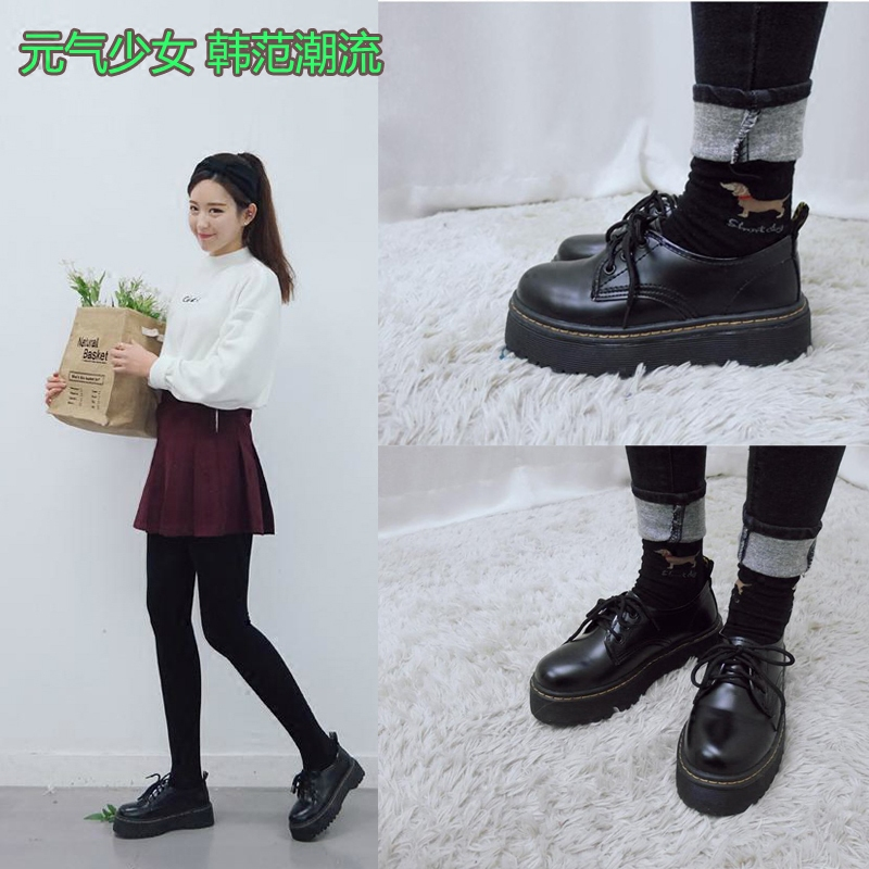 South Korea Ulzzang retro shoes England laces college wind women's shoes big thick platform Oxford shoes sponge cake single shoes