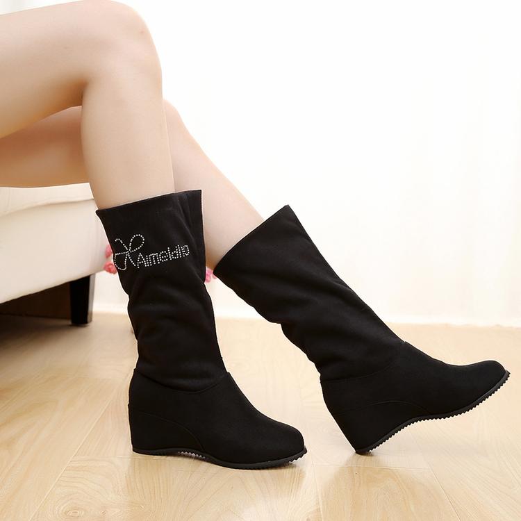 欧洲站2016袜子女鞋同款明星粗跟中筒高跟靴秋冬马丁靴弹力布女靴