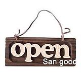 Japanese groceries, wooden shop, welcome sign, OPEN, Japanese groceries