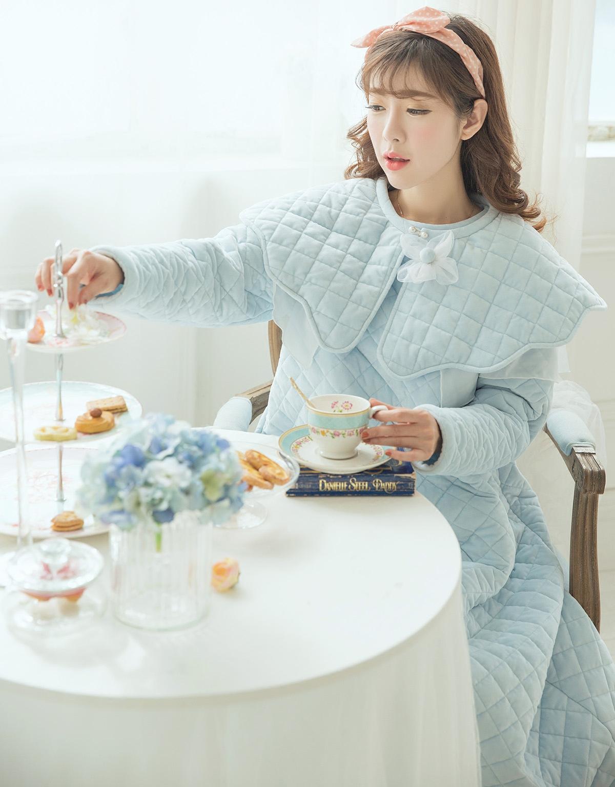 0a1719c36a (Li Zi) thickening three-layer cotton pajamas female Winter super warm  retro Palace