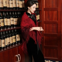 Printed pure color wedding dress with long widening wool cheongsam shawl